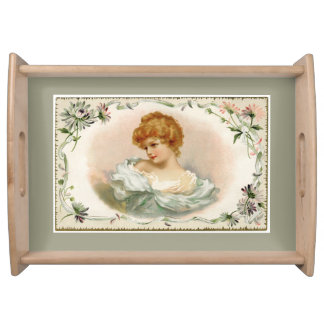 Pretty Victorian Lady Floral Gray Serving Tray