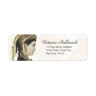 Pretty Victorian Lady in Profile Damask Back Return Address Label