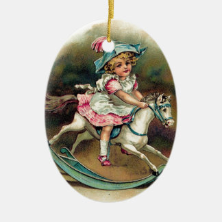 Pretty vintage child on rockinghorse shabbychic ceramic ornament