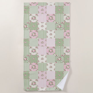 Pretty vintage floral patchwork pink and green beach towel