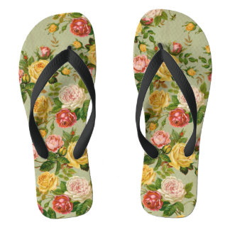 Pretty Vintage Floral Rose Pattern Girly Flip Flops