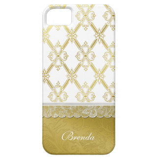 Pretty Vintage Gold & White Lattice iPhone 5 Case
