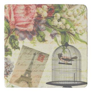 Pretty Vintage Paris Floral Birdcage Trivet
