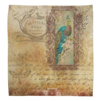 Pretty Vintage Peacock Bandanna