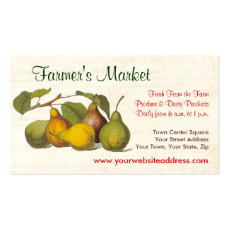 Pretty Vintage Pears Farmer's Market, Greengrocer Business Card Template