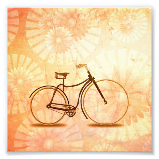 Pretty Vintage Sepia Bicycle Peach Floral Photograph