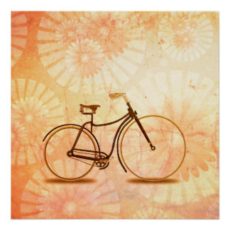 Pretty Vintage Sepia Bicycle Peach Floral Poster