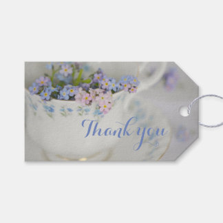 Pretty Vintage Tea Cup And Flowers Thank You Tags