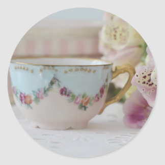 Pretty Vintage Tea Cup and Foxgloves Sticker