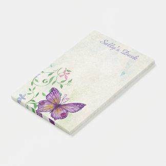 Pretty Vintage Watercolor Butterfly Personalized Post-it Notes