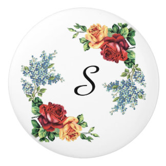 Pretty Vintage Watercolor Roses Monogrammed Ceramic Knob