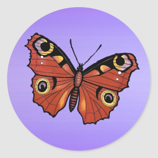 Pretty Vivid Monarch Butterfly Round Stickers