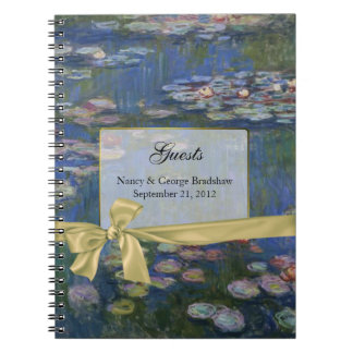 Pretty Water Lilies Wedding Guest Sign In Notebook