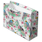 Pretty watercolor birds spring floral paint large gift bag