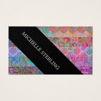 Pretty Watercolor Bohemian Abstract Grunge Striped Business Card