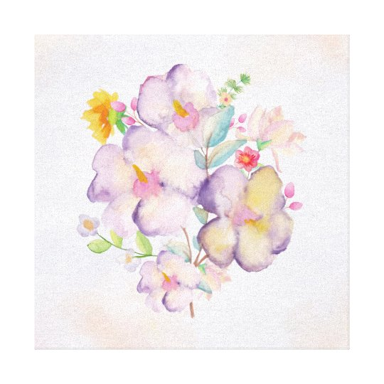 Pretty Watercolor Bouquet (1) Canvas Print
