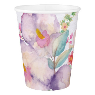 Pretty Watercolor Bouquet (1) Paper Cup