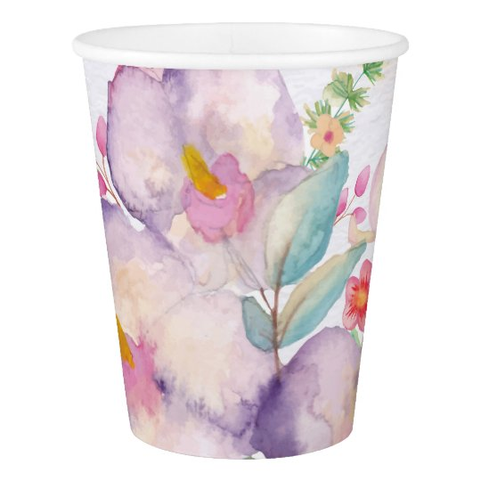Pretty Watercolor Bouquet (1) Paper Cup