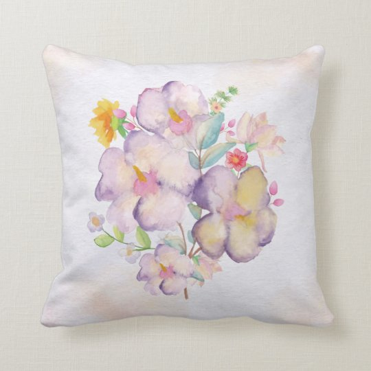 Pretty Watercolor Bouquet (1) Throw Pillow