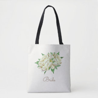 Pretty Watercolor Cream Peonies Tote Bag