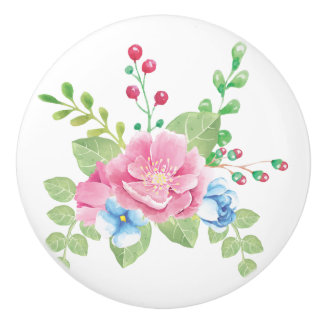 Pretty Watercolor Floral Bouquet Ceramic Knob
