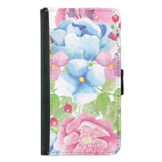 Pretty Watercolor Floral Bouquet Samsung Galaxy S5 Wallet Case