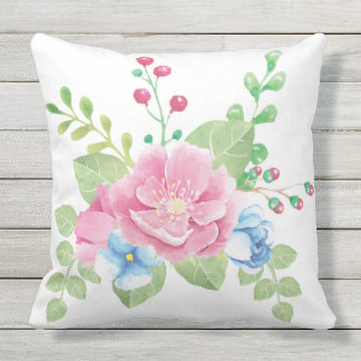 Pretty Watercolor Floral Bouquet Throw Pillow