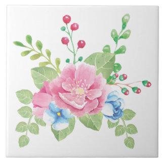 Pretty Watercolor Floral Bouquet Tile