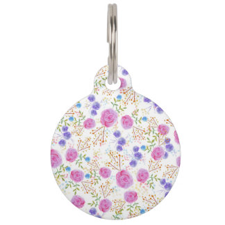 Pretty watercolor floral design pet ID tag