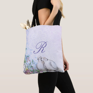 Pretty Watercolor Floral Doves Monogrammed Tote Bag