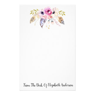 Pretty Watercolor Floral & Feather Personalized Stationery