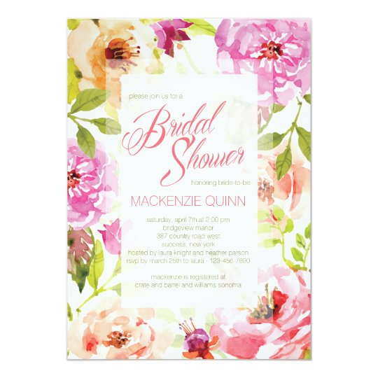 Pretty Watercolor Floral Invitation