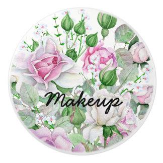 Pretty Watercolor Floral Personalized Content Ceramic Knob