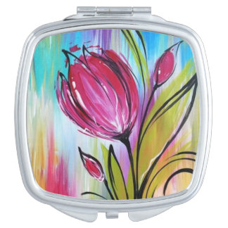 Pretty watercolor flowers on compact mirror