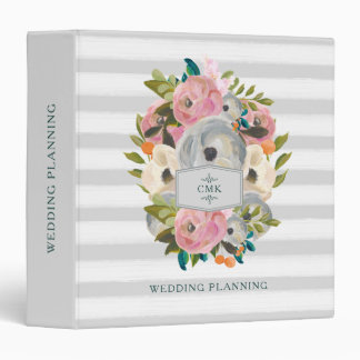 Pretty Watercolor Flowers with Chic Gray Stripes 3 Ring Binders