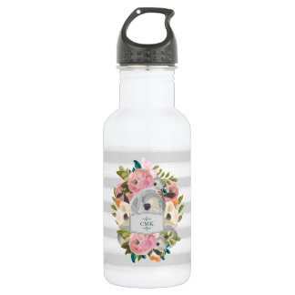 Pretty Watercolor Flowers with Chic Gray Stripes 532 Ml Water Bottle