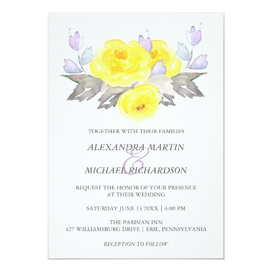 Pretty Watercolor Grey Yellow Purple Roses Wedding Card