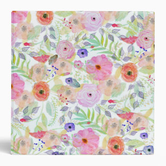 Pretty watercolor hand paint abstract floral 3 ring binder