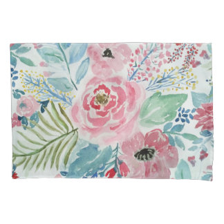 Pretty watercolor hand paint floral artwork pillowcase