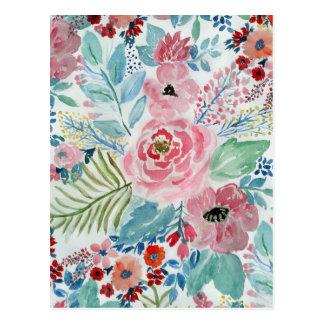 Pretty watercolor hand paint floral artwork postcard