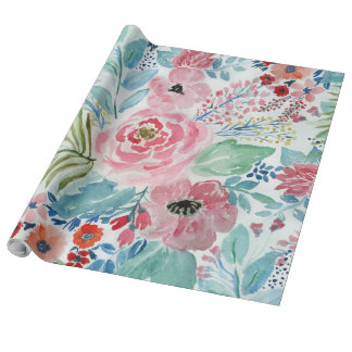 Pretty watercolor hand paint floral artwork wrapping paper