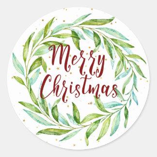 Pretty Watercolor Laurel Wreath Merry Christmas Classic Round Sticker