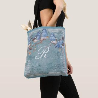 Pretty Watercolor Little Blue Birds Monogrammed Tote Bag