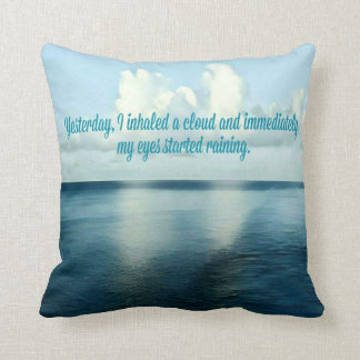 Pretty Watercolor Oceanscape Reflecting Clouds Quo Throw Pillow