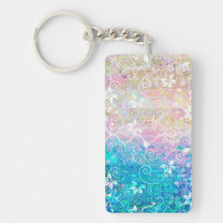 Pretty Watercolor Pastel Floral Pink and Blue Keychain