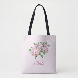 Pretty Watercolor Pink Peony Tote Bag