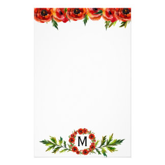Pretty Watercolor Red Poppy Floral Monogrammed Personalized Stationery