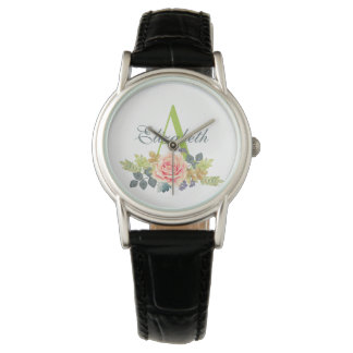 Pretty Watercolor Rose Floral Monogrammed Watch