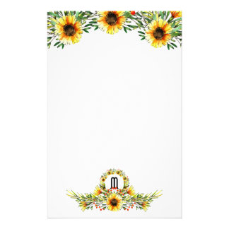 Pretty Watercolor Sunflowers Monogrammed Stationery