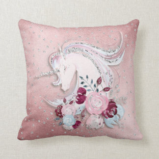 Pretty Watercolor Unicorn Pink Silver Throw Pillow